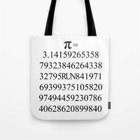 pi Tote Bags featuring Pi by Anton Nikulin