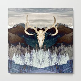 Rocky Mountain Deer Skull Metal Print