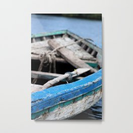 Rustic Wooden Turquoise Boat Metal Print
