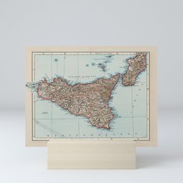 Vintage Map of Sicily Italy (1900) Mini Art Print