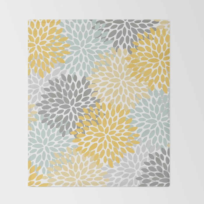 Floral Pattern, Yellow, Pale, Aqua, Blue and Gray Throw Blanket