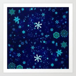 Blue Snowflakes Pattern Art Print