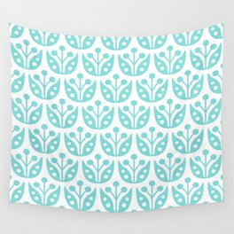 Mid Century Modern Flower Pattern 731 Turquoise Wall Tapestry