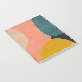 geometry shape mid century organic blush curry teal Notebook