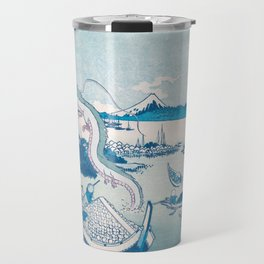 Haku the dragon japanese vintage woodblock mashup Travel Mug