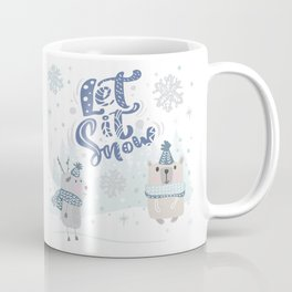Let It Snow Winter Fun Illustration Coffee Mug
