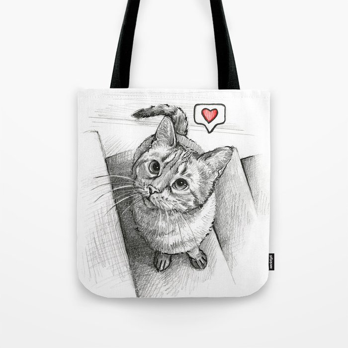 Cute Kitty Cat - Love Me Tote Bag by olechka  cbd4a7282e0fd