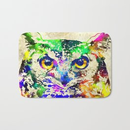 Owl Watercolor Grunge Bath Mat