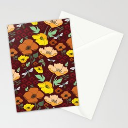 Flower Petals and Bees Maroon Stationery Cards