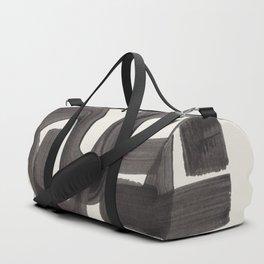 Black Ink Paint Brush Strokes Wiggles Mid Century Modern Duffle Bag