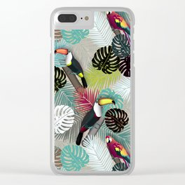 Tropical Birds (Color 2 - Bold) Clear iPhone Case