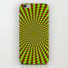 Spiral Rays in Yellow Green and Red iPhone & iPod Skin