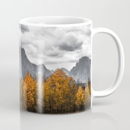 Teton Fall - Autumn Colors and Grand Tetons in Black and White Coffee Mug