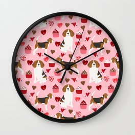 Beagle valentines day dog breed pet portrait dog lovers perfect gift i love you pet portrait Wall Clock