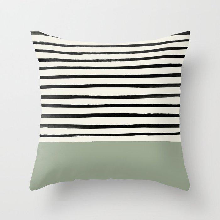 Sage Green x Stripes Deko-Kissen
