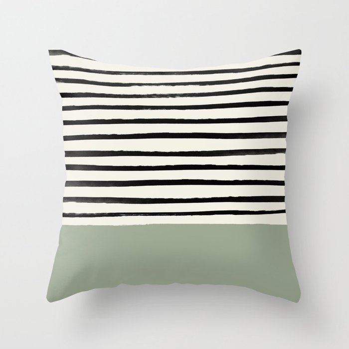 Sage Green X Stripes Throw Pillow By Floresimagespdx Society6