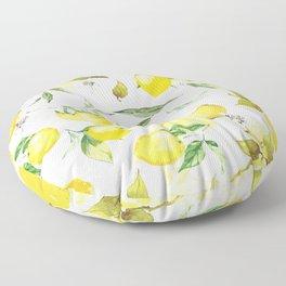 Watercolor lemons Floor Pillow