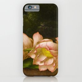Martin Johnson Heade - Lotus Flowers with a Landscape Painting in the Background iPhone Case