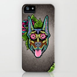 Doberman with Cropped Ears - Day of the Dead Sugar Skull Dog iPhone Case