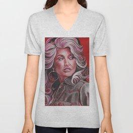 Dolly Parton in Pink Unisex V-Neck