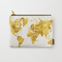 24 Karat World, faux gold world map Carry-All Pouch