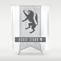 house stark Shower Curtains featuring House Stark Sigil V2 by P3RF3KT