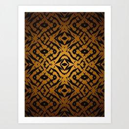 Yellow tribal shapes pattern Art Print