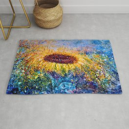 Sunflower Painting - In The Swirls Of Sunshine  Rug