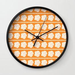 Simple White Roses - Orange BG Wall Clock