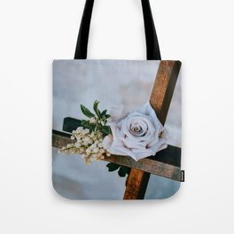 Rose on the Cross (Color) Tote Bag
