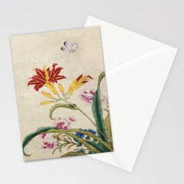 Minhwa-Korea traditional flower art : Lilium lancifolium and Butterfly Stationery Cards
