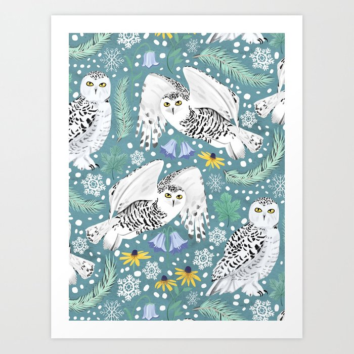 Snowy Owls on a Snowy Day - Teal Background Art Print