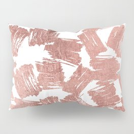 Modern faux rose gold artistic brushstrokes pattern Pillow Sham