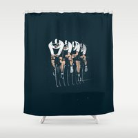 cycling Shower Curtains featuring Cycling Team Pursuit by pencilbeak