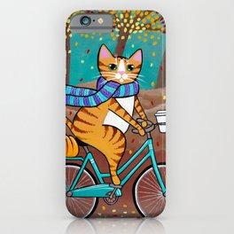 Autumn Fat Cat Bicycle Ride iPhone Case