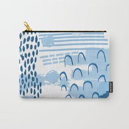 Yesta - abstract painting indigo blue dots mark making canvas painting Carry-All Pouch