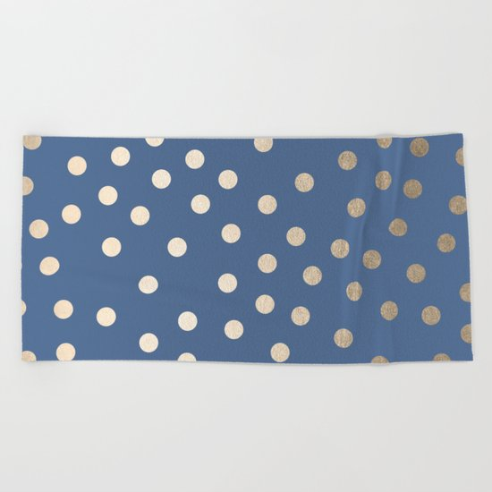 Simply Dots White Gold Sands on Aegean Blue Beach Towel