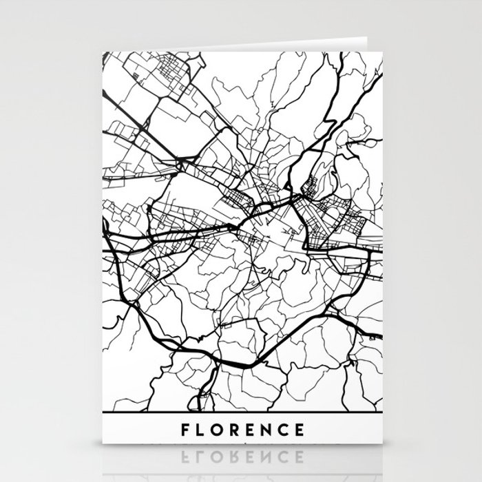 Black And White Map Of Italy.Florence Italy Black City Street Map Art Stationery Cards By Deificusart