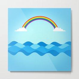 Rainbow & Wavy Sea Metal Print