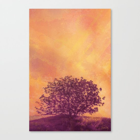 Red Violet Lone Tree and Fall Sunlight Canvas Print