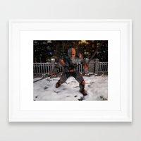 deathstroke Framed Art Prints featuring DeathStroke Arkham Origin by Scofield Designs