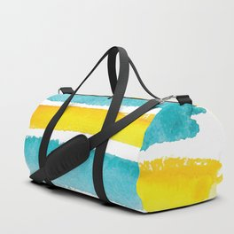 Watercolor yellow and turquoise stripes Duffle Bag