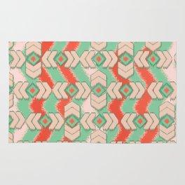 Aztec Emerald Orange Ikat Tribal Diamond Chevron Pattern Rug