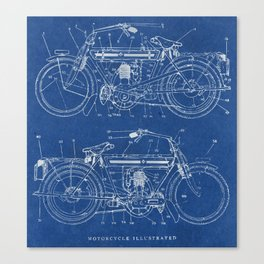 Motorcycle blueprint Canvas Print