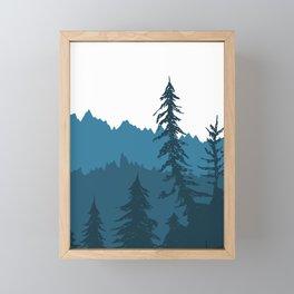 Tree Gradient Blue Framed Mini Art Print
