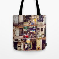 hong kong Tote Bags featuring Doors of Hong Kong by Olivia Tse (OliviaOliveTea)