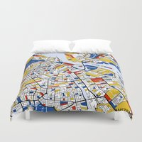 amsterdam Duvet Covers featuring Amsterdam by Mondrian Maps