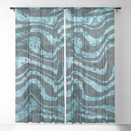 Zebra Stripes blue mosaic design Sheer Curtain