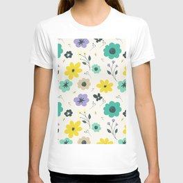 Modern ivory lime green teal violet floral illustration T-shirt