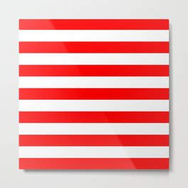 Horizontal Stripes (Red/White) Metal Print